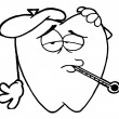 Outlined Tooth Decay Cartoon Character - 图库照片