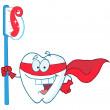Stock Photo: Superhero Tooth With Toothbrush