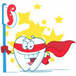 Stock Photo: Smiling Superhero Tooth With Toothbrush