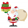 Santa Claus Holding Up A Stack Of Gifts — Stock Photo #4726251