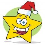 Happy Christmas Star Cartoon Character Smiling — Stock Photo