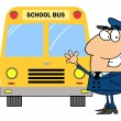 Foto Stock: Driver In Front of School Bus