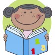 African American Girl Reading A Book — Stock Photo