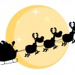 Black Silhouette Of Santa And A Reindeers Flying In Moon — Stock Photo #4726615