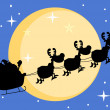 Silhouette Of Santa And A Reindeers Flying In Moon - Stockfoto