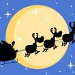 Silhouette Of Santa And A Reindeers Flying In Moon - Stock Photo