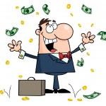 Caucasian Businessman Standing Under Falling Money — Stock Photo #4726732