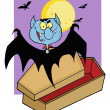Royalty-Free Stock Photo: Vampire Bat Hovering Above A Coffin Against A Full Moon