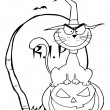 Outlined Halloween Cat on Pumpkin Near Tombstone - Stock Photo