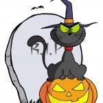 Halloween Cat on Pumpkin Near Tombstone — Stock Photo #4726773