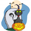 Halloween Cat on Pumpkin Near Tombstone And Bats A Full Moon - Stock Photo