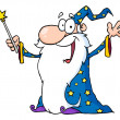 Wizard Waving And Cape Holding A Magic Wand - Stock Photo