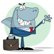 Business Shark Waving A Greeting - Stock Photo
