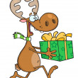 Happy Reindeer Runs With Bag - Stock Photo