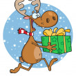 Happy Reindeer Runs With Bag In Snow - Foto Stock