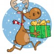 Happy Reindeer Runs With Bag In Snow — Stock Photo