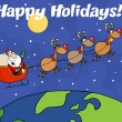 Stock Photo: Happy Holidays Greeting With Team Of Reindeer And Santa