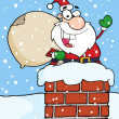 Stock Photo: SantClaus In Chimney Waving