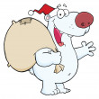 Christmas Santa Polar Bear — Stock Photo
