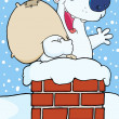 Happy Santa Polar Bear In Chimney — Stock Photo