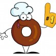 Donut Cartoon Character Number One — Stock Photo
