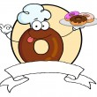Friendly Donut Chef Cartoon Character Holding A Donuts Banner — Stock Photo #4727464