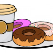 Coffee Cup With Donuts — Stock Photo