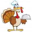 Happy Turkey Chef Serving A Platter — Stock Photo #4727508