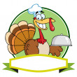 Thanksgiving Turkey Bird Chef Holding A Platter Over A Blank Banner — Stock Photo