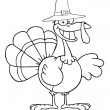 Outlined Turkey Cartoon Character With Pilgrim Hat — Stock Photo #4727521