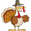 Happy Turkey Cartoon Character With Pilgrim Hat — Stock Photo