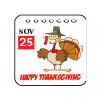 Thanksgiving Holiday Event Cartoon Calendar — Stock Photo