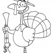 Outlined Turkey With Pilgrim Hat and Musket - Stock Photo