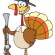 Happy Turkey With Pilgrim Hat and Musket - Stock Photo