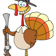 Happy Turkey With Pilgrim Hat and Musket — Stock Photo
