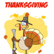 Happy Thanksgiving Greeting With Turkey With Pilgrim Hat and Musket — Stock Photo #4727535