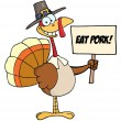 Stock Photo: Pilgrim Turkey Holding A Blank Sign