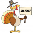 Pilgrim Turkey Holding A Blank Sign — Stock Photo