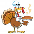 Happy Turkey Chef With Pumpkin Pie - Stock Photo