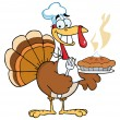 Happy Turkey Chef With Pumpkin Pie — Stok fotoğraf