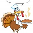 Turkey Bird Holding A Pie — Foto de Stock