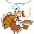 Turkey Bird Holding A Pie - Stock Photo