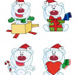 Digital Collage Of Christmas Polar Bears — Stock Photo