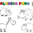 Coloring Page Farm Animals — Stock Photo