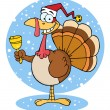 Stock Photo: Christmas Turkey Ringing A Bell Over Snow