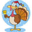 Christmas Turkey Ringing A Bell Over Snow — Stock Photo