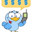 Bird Calling With A Dollar Balloon - Stock Photo