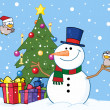 Christmas Snowman By A Tree - Stock Photo