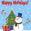 Happy Holidays Greeting With A Snowman And Cute Birds - Stock Photo