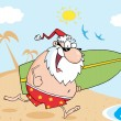 Santa Running With A Surfboard — Stock Photo